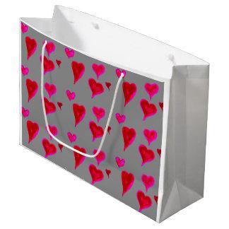 Sacola Para Presentes Grande Saco chique do presente dos corações do rosa do