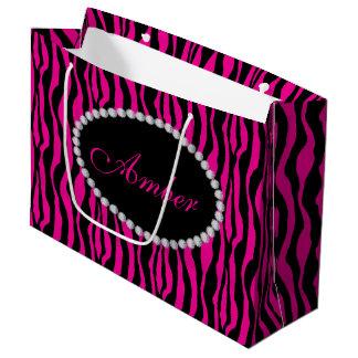 Sacola Para Presentes Grande Saco cor-de-rosa do presente do Lg do monograma do