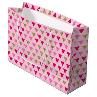 Sacola Para Presentes Grande Saco cor-de-rosa do presente do ouro