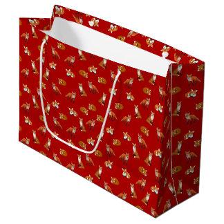Sacola Para Presentes Grande Saco do presente da família do Fox vermelho