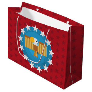 Sacola Para Presentes Grande Saco do presente de Eagle da liberdade (vermelho)