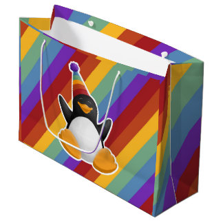 Sacola Para Presentes Grande Saco do presente do arco-íris do pinguim do feliz