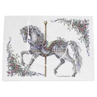 Sacola Para Presentes Grande Saco do presente do desenho do cavalo do carrossel