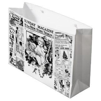 Sacola Para Presentes Grande Saco do presente do jornal do vintage das crianças