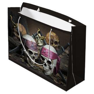 Sacola Para Presentes Grande Saco do presente dos crânios do pirata grande
