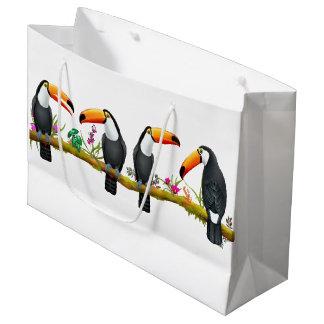 Sacola Para Presentes Grande Saco do presente dos pássaros tropicais de Toucan
