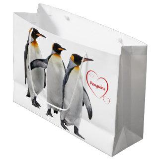 Sacola Para Presentes Grande Saco do presente dos pinguins do amor (escolha sua
