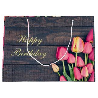 Sacola Para Presentes Grande Saco do presente--Tulipas & madeira cor-de-rosa