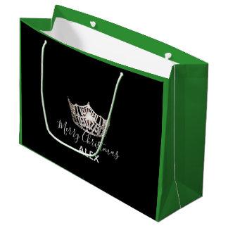 Sacola Para Presentes Grande Saco-Natal de prata do presente do verde da coroa