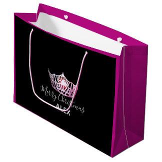 Sacola Para Presentes Grande Saco-Natal fúcsia do presente da coroa cor-de-rosa