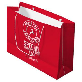 Sacola Para Presentes Grande Saco vermelho & branco do presente do nome do