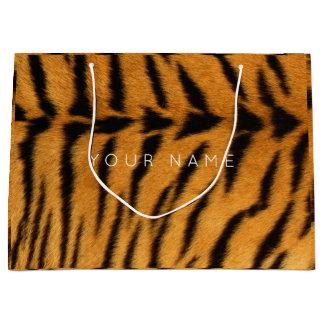 Sacola Para Presentes Grande Safari preto Tigre VIP mínimo de Brown da pele