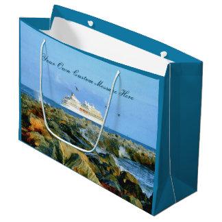 Sacola Para Presentes Grande Seascape com o navio de cruzeiros personalizado
