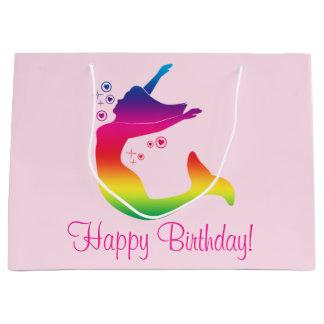 Sacola Para Presentes Grande Sereia do arco-íris no feliz aniversario da