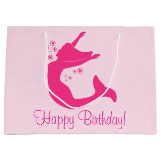 Sacola Para Presentes Grande Sereia no feliz aniversario da silhueta
