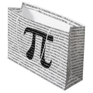 Sacola Para Presentes Grande Símbolo matemático do dia preto original do pi do