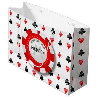 Sacola Para Presentes Grande Ternos dos cartões de jogo com a microplaqueta de