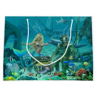 Sacola Para Presentes Grande Tesouro do recife de corais da sereia