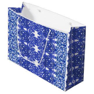Sacola Para Presentes Grande Teste padrão a céu aberto no azul-chinoiserie do