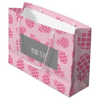 Sacola Para Presentes Grande Teste padrão bonito feminino do abacaxi do rosa
