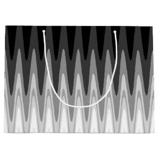 Sacola Para Presentes Grande Teste padrão cinzento branco preto do ziguezague