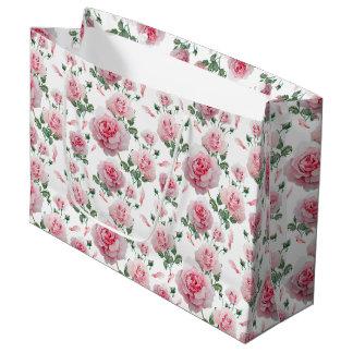Sacola Para Presentes Grande Teste padrão cor-de-rosa dos rosas do Scatter