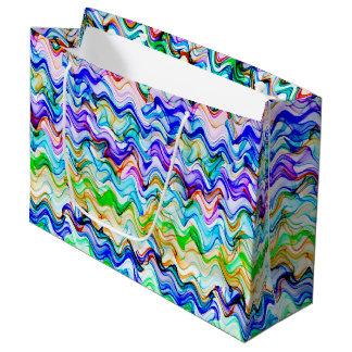 Sacola Para Presentes Grande Teste padrão de ziguezague ondulado colorido legal