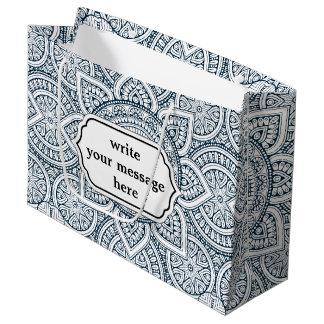 Sacola Para Presentes Grande Teste padrão floral branco azul geométrico da