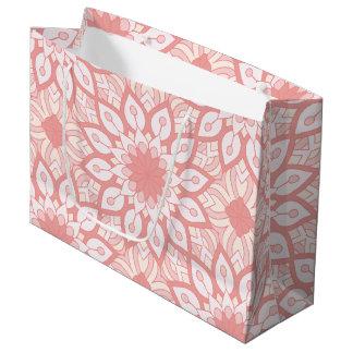 Sacola Para Presentes Grande Teste padrão geométrico da mandala floral rosado