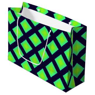 Sacola Para Presentes Grande Teste padrão geométrico do verde e dos azuis
