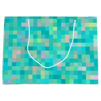 Sacola Para Presentes Grande Teste padrão multicolorido da arte do pixel