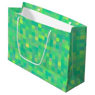 Sacola Para Presentes Grande Teste padrão multicolorido verde na moda à moda do