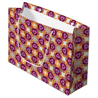 Sacola Para Presentes Grande Teste padrão retro dos quadrados de creme