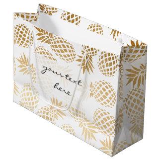 Sacola Para Presentes Grande teste padrão tropical do abacaxi do ouro elegante