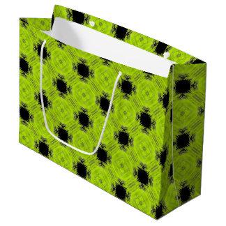 Sacola Para Presentes Grande Teste padrão verde e preto do quivi do vintage