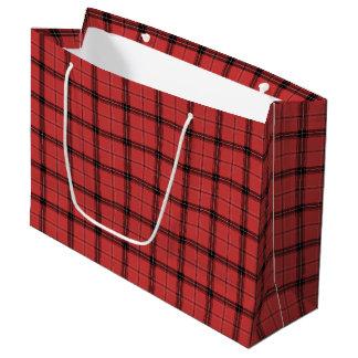 Sacola Para Presentes Grande Teste padrão vermelho do feriado do Natal do