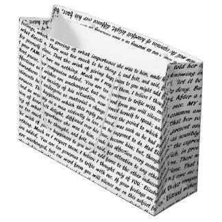 Sacola Para Presentes Grande Texto do orgulho e do preconceito