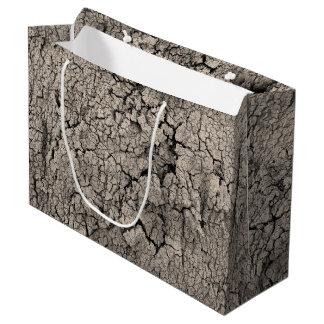 Sacola Para Presentes Grande Textura legal da sujeira rachada da terra