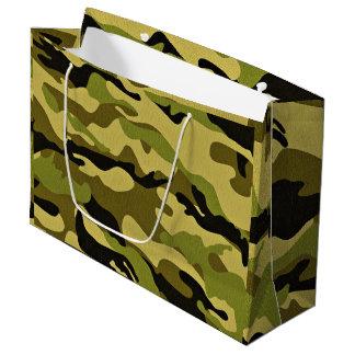 Sacola Para Presentes Grande Textura verde do exército da camuflagem