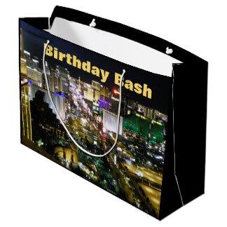 Sacola Para Presentes Grande Tira da festança do aniversário de Las Vegas