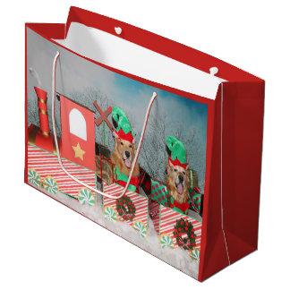 Sacola Para Presentes Grande Trem do Natal do golden retriever
