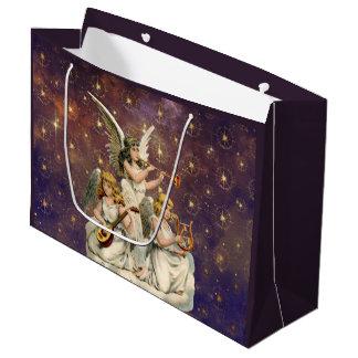 Sacola Para Presentes Grande Três anjos musicais contra o céu e estrelas roxos