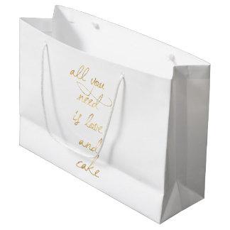 Sacola Para Presentes Grande Tudo que você precisa é amor & bolo