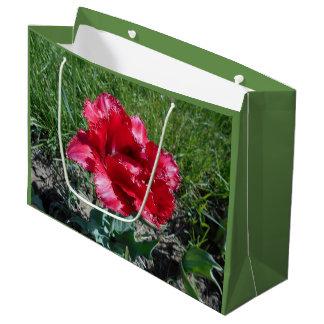 Sacola Para Presentes Grande Tulipa vermelha bonita