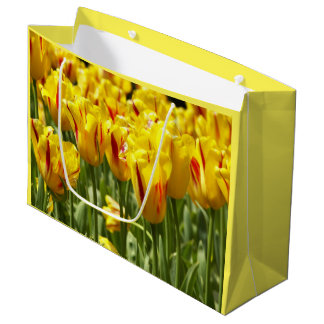 Sacola Para Presentes Grande Tulipas amarelas florais