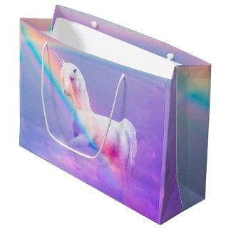 Sacola Para Presentes Grande Unicórnio e arco-íris