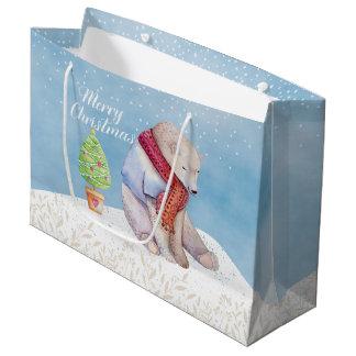 Sacola Para Presentes Grande Urso polar e árvore de Natal na neve
