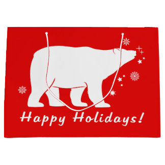 Sacola Para Presentes Grande Urso polar na neve boas festas