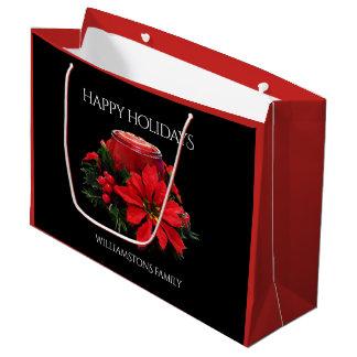 Sacola Para Presentes Grande Velas, azevinho, & poinsétia vermelhos festivos do