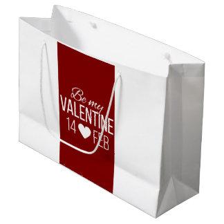 Sacola Para Presentes Grande Vermelho e branco seja meu coração dos namorados